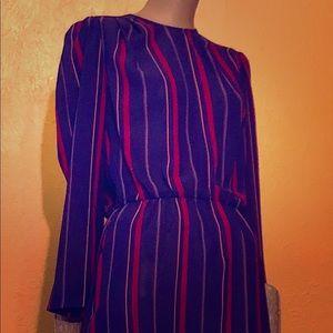 Dresses & Skirts - Vintage 70s-early 80s blue striped secretary dress